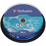 Диски CD-R 700Mb 52x Verbatim DataLife #43437, в тубе 10 шт.