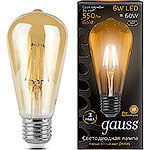 Лампа LED Gauss E27/ST64 винтаж FILAMENT GOLDEN, 6W, 2400K [102802006]
