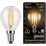 Лампа LED Gauss E14/G45 шар FILAMENT, 7W, 2700K [105801107]