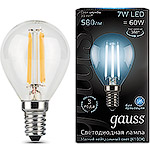 Лампа LED Gauss E14/G45 шар FILAMENT, 7W, 4100K [105801207]