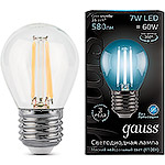 Лампа LED Gauss E27/G45 шар FILAMENT, 7W, 4100K [105802207]