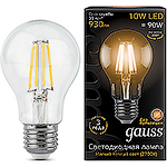 Лампа LED Gauss E27/A60 груша, 10W, FILAMENT, 2700K [102802110]
