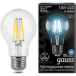 Лампа LED Gauss E27/A60 груша, 10W, FILAMENT, 4100K [102802210]
