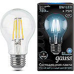 Лампа LED Gauss E27/A60 груша,  8W, FILAMENT, 4100K [102802208]