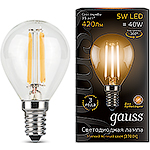 Лампа LED Gauss E14/G45 шар, 5W, FILAMENT, 2700K [105801105]