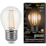 Лампа LED Gauss E27/G45 шар, 5W, FILAMENT, 2700K [105802105]
