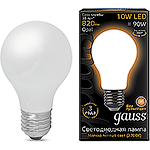 Лампа LED Gauss E27/A60 груша, 10W, FILAMENT матовая, 2700K [102202110]