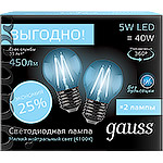 Лампа LED Gauss E27/G45 шар FILAMENT, 5W, 4100K, набор 2 шт. [105802205P]